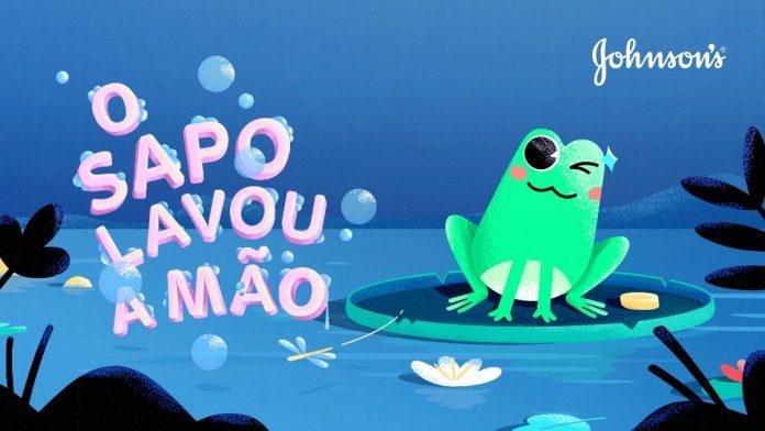 A imagem mostra parte do videoclipe da canção O sapo lavou a mão.