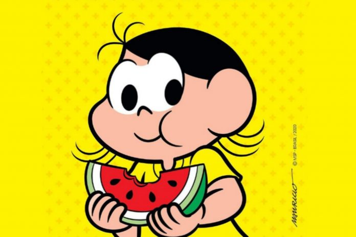 Magali, personagem da Turma da Mônica, come melancia em ilustração de cartilha que reúne cuidados com alimentos durante pandemia.