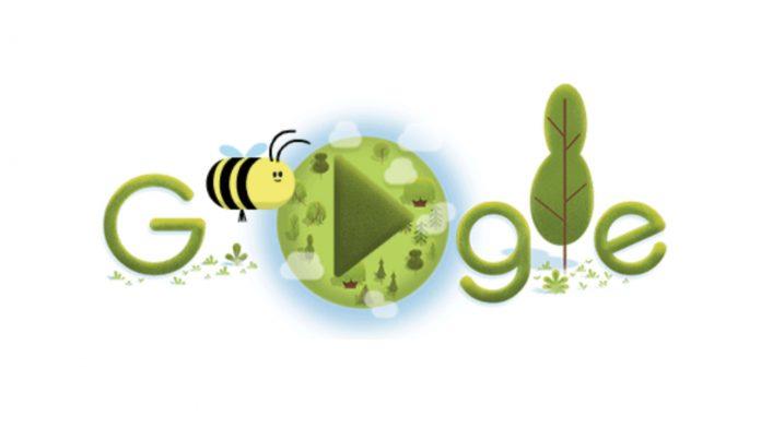 Jogo no doodle do Google celebra Dia Mundial da Terra mostrando a importância das abelhas para a natureza.
