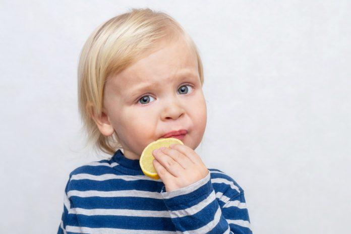 Alimentos azedos e amargos como o limão, que a criança loirinha está chupando nesta imagem, devem ser introduzidas na dieta da criança desde muito cedo.