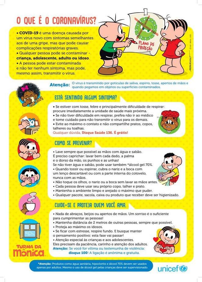 Cartaz sobre coronavírus que será distribuído pela Turma da Mônica e pelo UNICEF.