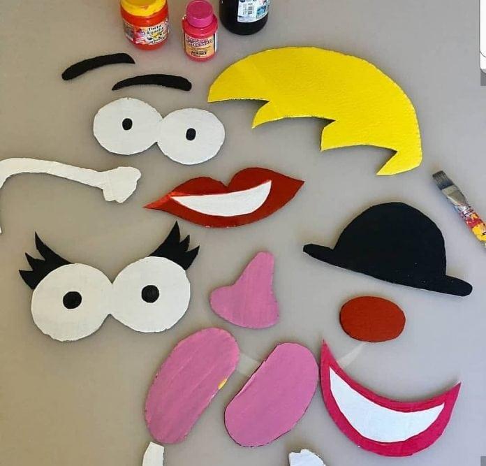 Para fazer o personagem de papelão basta desenhar, cortar e pintar cada parte da cabeca, como mostra essa imagem que tem olhos, nariz, boca e sobrancelhas recortadas.