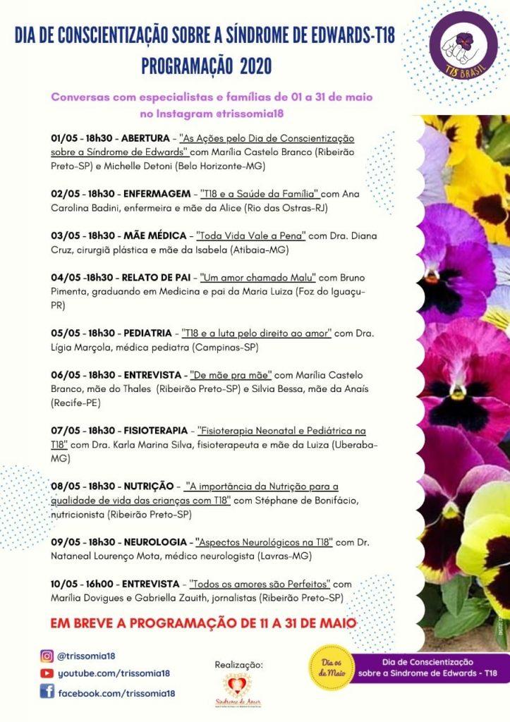 Programação de maio dos eventos sobre a Síndrome de Edwards