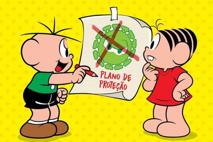 Personagens da Turma da Mônica Cebolinha e Mônica olham para cartaz com uma representação do coronavírus riscada por um X vermelho.