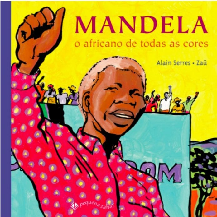 """Livros para explicar o racismo, como esse da imagem chamado """"Mandela: o africano de todas as cores"""" podem ajudar os pais a discutir o tema com seus filhos"""