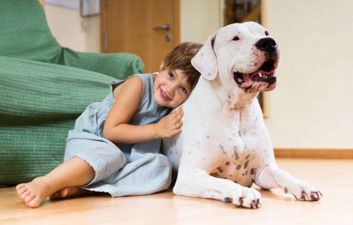 Criança abraça um cachorro; imagem ilustra matéria sobre pesquisa que concluiu que crianças podem ter benefícios ao conviverem com um cachorro.