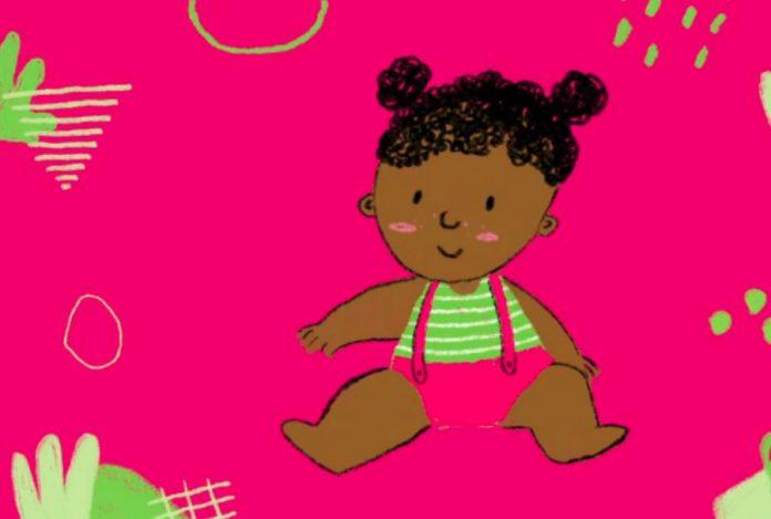 4 livros digitais sobre marcos motores nos bebês e sua relação com certas doenças raras; imagem de fundo rosa mostra bebê de cabelo preto sentada