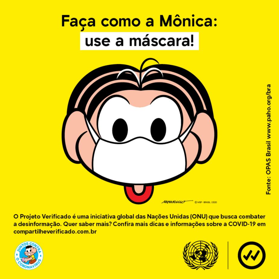 Mônica veste máscara em campanha feita em parceria com a ONU; ilustração mostra a personagem Mônica usando máscara