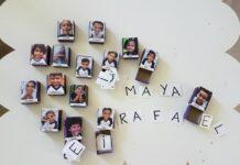 Caixinhas de fósforos para recordar os amigos (e trabalhar a escrita!); imagem mostra caixinhas de fósforos com imagens de crianças coladas na tampa e letras escritas em papeis recortadosCaixinhas de fósforos para recordar os amigos (e trabalhar a escrita!); imagem mostra
