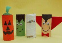 Halloween: como fazer bonecos horripilantes com rolinhos de papel higiênico; imagem mostra bonecos de Halloween feitos com rolos de papel higiênico
