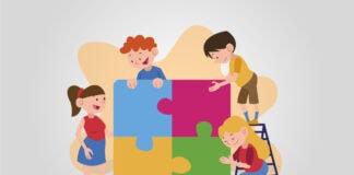 Identidade de gênero: por que escolas têm de discutir esse assunto; ilustração mostra 4 crianças montando um quebra-cabeça em tamanho real