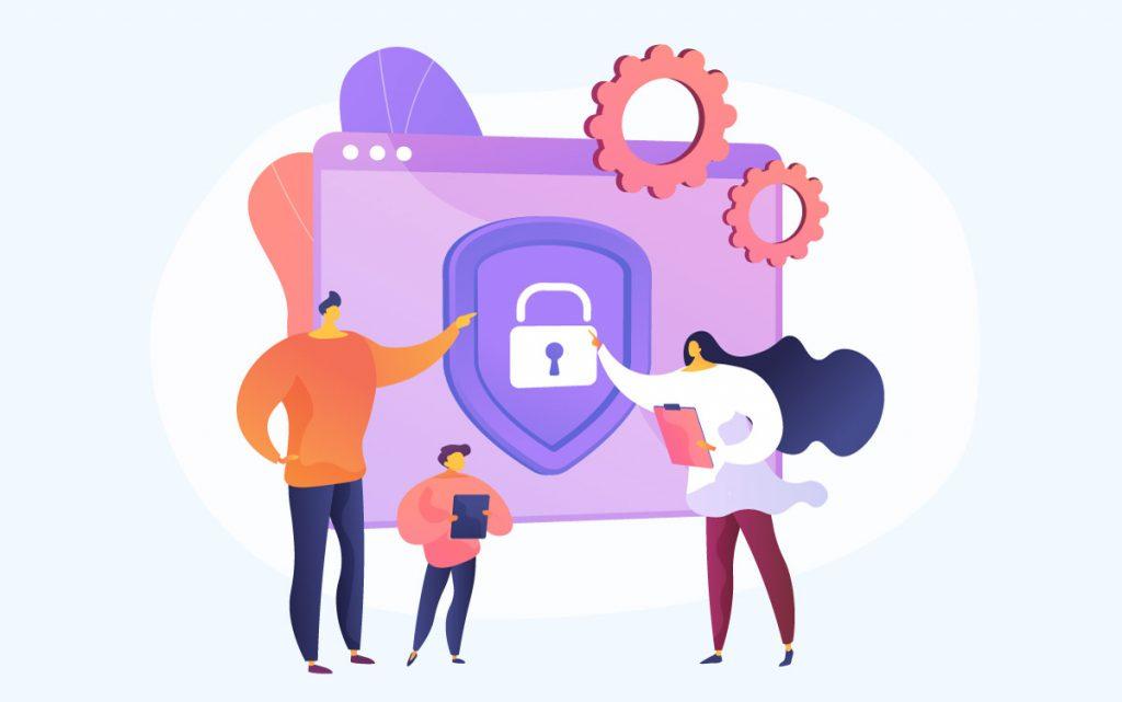 'Dia da Internet Segura' reforça importância do uso seguro e saudável das tecnologias pelas crianças; ilustração mostra mãe, pai e criança ao lado de uma tela que tem um cadeado