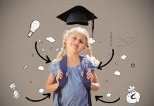 Quando os erros ajudam seu filho a ter sucesso no futuro; menina de trancinhas sorridente tem cartola sobre cabeça e lâmpadas e setas ilustradas sobre imagem