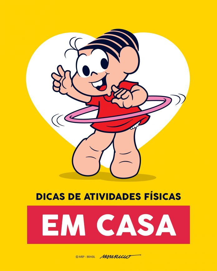 Dicas de atividade física para fazer em casa com as crianças; ilustração mostra a personagem da Mônica dançando bambolê