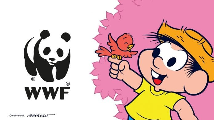Nova cartilha da Turma da Mônica visa conscientizar sobre alimentação e consumo sustentável; personagem Chico Bento ao lado do logo da WWF
