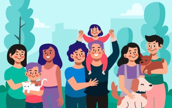 Novos arranjos familiares: como a família evoluiu nas últimas décadas; ilustração mostra família diversa com 4 adultos entre mulheres e homens e três crianças
