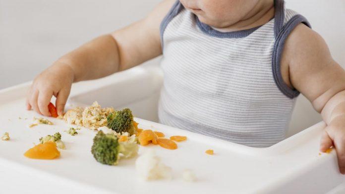 4 texturas de alimentos que podem causar recusa; veja como oferecê-los; bebê sentado em cadeirinha olha para brócolis e outros alimentos dispostos a sua frente