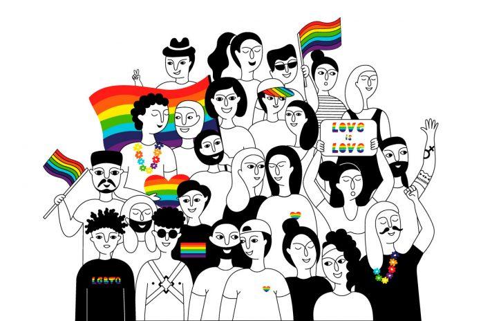 7 atitudes para evitar que seu filho seja homofóbico; ilustração mostra pessoas diversas em preto e branco e uma bandeira colorida com as cores do arco-íris