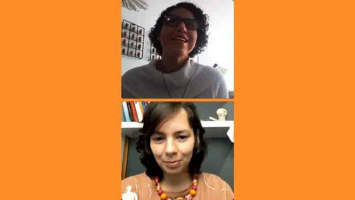 Lua Barros conversa com fundadora da cnaguru News, Ivana MOreira, em live em rede social; imagem retirada d alive mostra Lua barros e Ivana durante a conversa