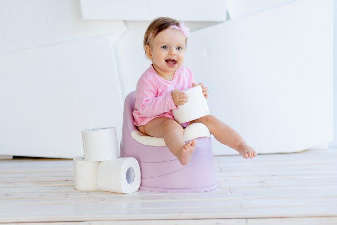 Desfralde: dicas para tirar a fralda do seu bebê (sem estresse); menina bebê de vestido rosa está sentada em piniquinho e segura rolo de papel de higiênico nas mãos