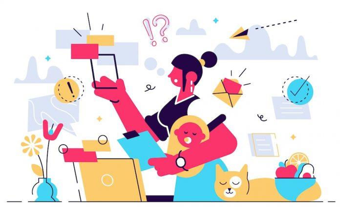 Sobrecarga mental: precisamos querer menos, de cada vez; ilustração de mãe multitarefa fazendo várias coisas ao mesmo tempo