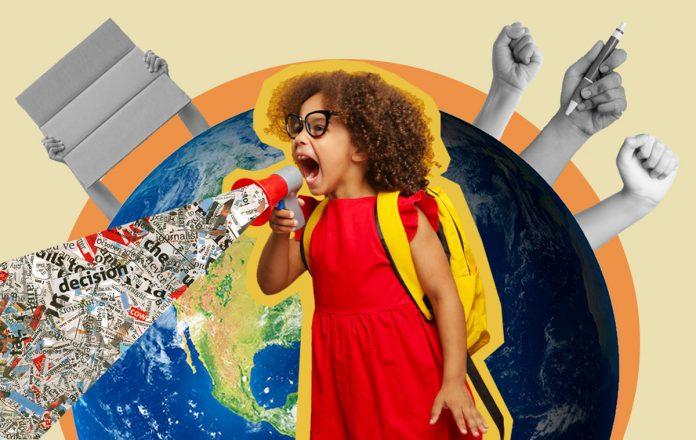 Ativismo infantil: as crianças devem se envolver com temas polêmicos?; colagem com criança com vestido vermelho, mochila amarela e óculos gritando em um megafone