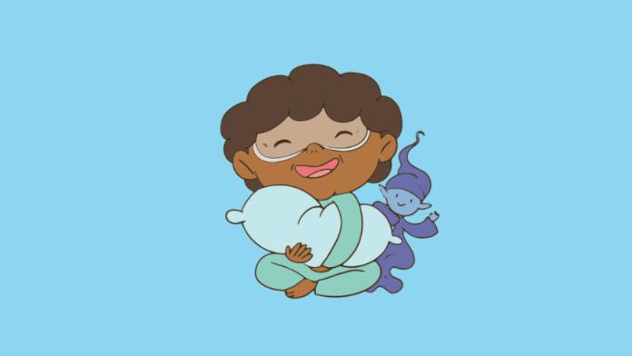 Ronco e sonolência excessiva podem indicar apneia obstrutiva do sono; ilustração da Dona Ciência segurando um travesseiro com um pequeno ser parecido com um duende sob um fundo azul claro na edição do gibi sobre apneia obstrutiva do sono