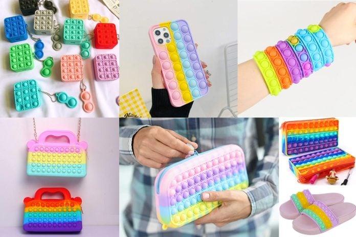 O brinquedo Pop It realmente ajuda no controle da ansiedade?; mosaico com brinquedos fidget toy: pulseiras, bolsas e capinhas de celular